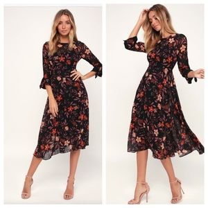 Lulu's Passionate Love Black Floral Midi Dress